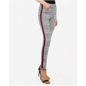 Mid Rise Plaid Side Stripe Skinny Pant